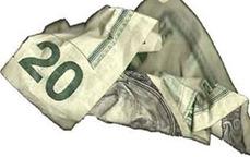 Crumpled $20 bill