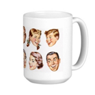 Cup with 60s faces