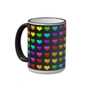 Mug with rainbow colored hearts on it