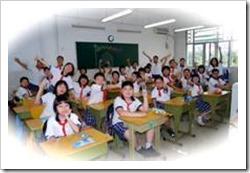 A big classroom of children