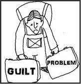 Person carrying suitcases labelled guilt and problem