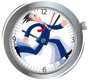 Man running in a clock