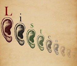 A row of ears with the word Listen