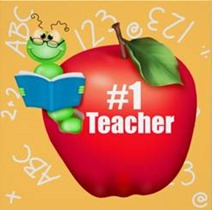 Bookworm in apple marked #1 Teacher