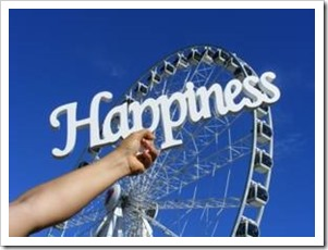 The word Happiness against the sky
