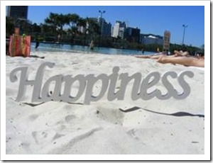 Happiness sign on the beach