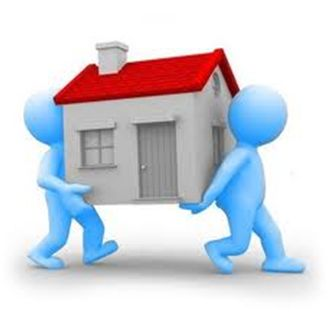 2 cartoon men moving a house