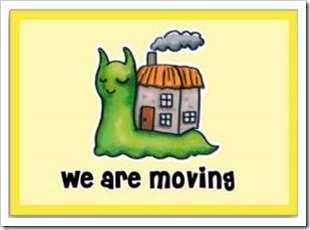 Snail with house on back saying: we are moving