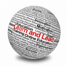 Globe with the words Learn and Lead - it