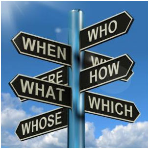 Street signs asking when, who, where, why, what, how, whose, which
