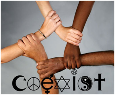 The word coexist made of religions symbols - can parents with different religions raise kids successfully?