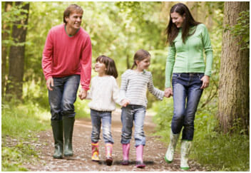 Family walking through forest in gumboots