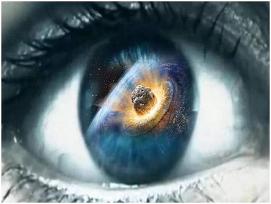 Reflection of meteor striking in an eye