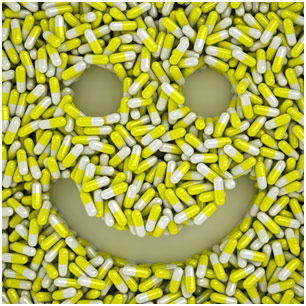 Capsules in the shape of a smiley