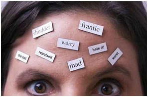 magnets of emotions stuck on a forehead