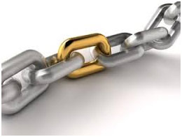 A golden link in a silver chain