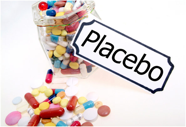 A jar of pills and a sign for placebo