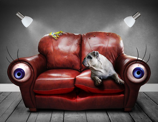 Surrealistic painting - sofa with eyes