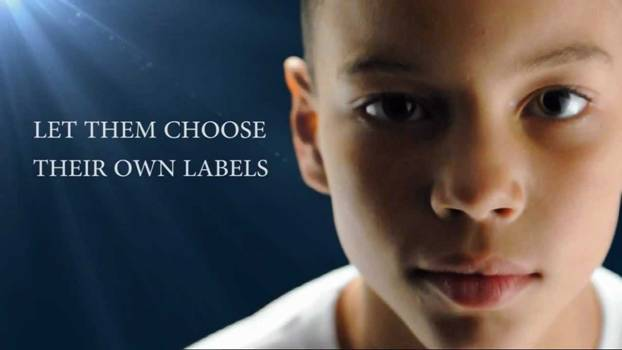 """Let them choose their own labels"" with a child's face"