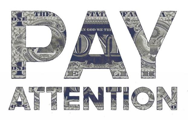 Pay attention written in dollar note pattern