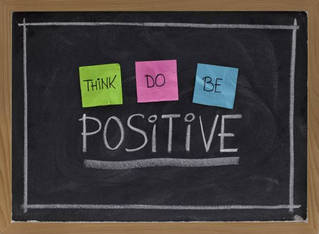Think Do Be Positive written on a blackboard