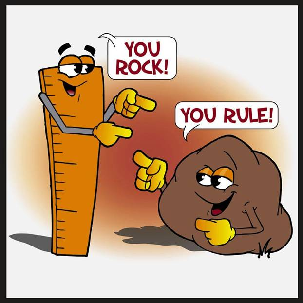"Ruler complimenting rock ""You rock"" and rock complimenting ruler ""You rule"""