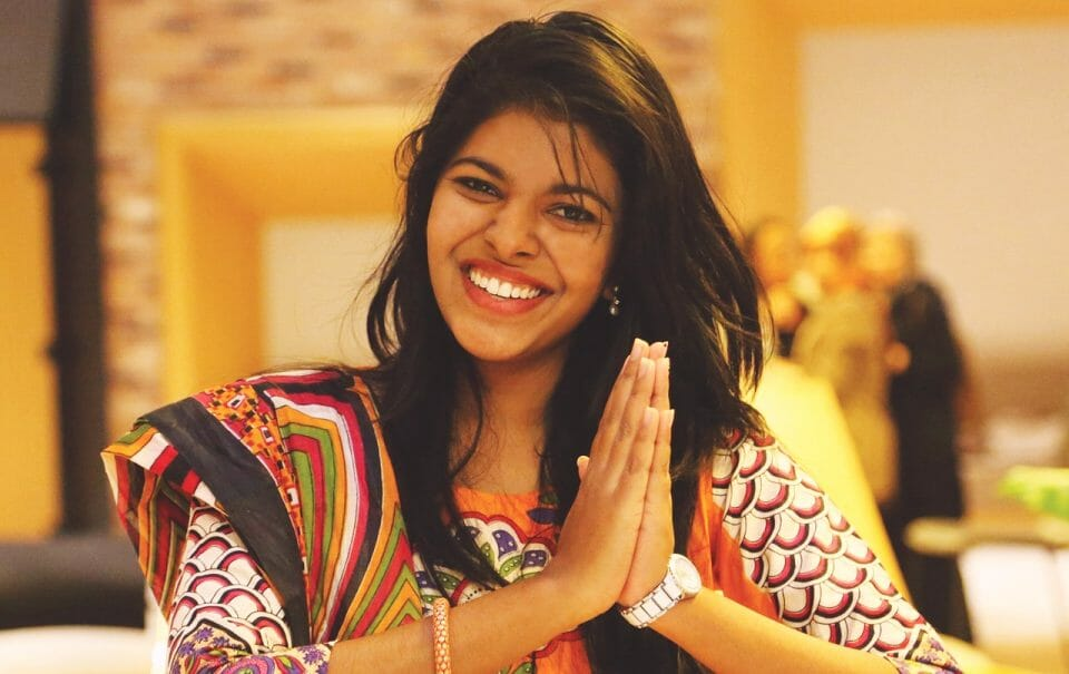Indian woman showing gratitude