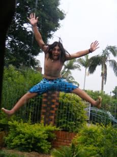 Tsoof bouncing high on a tranpoline