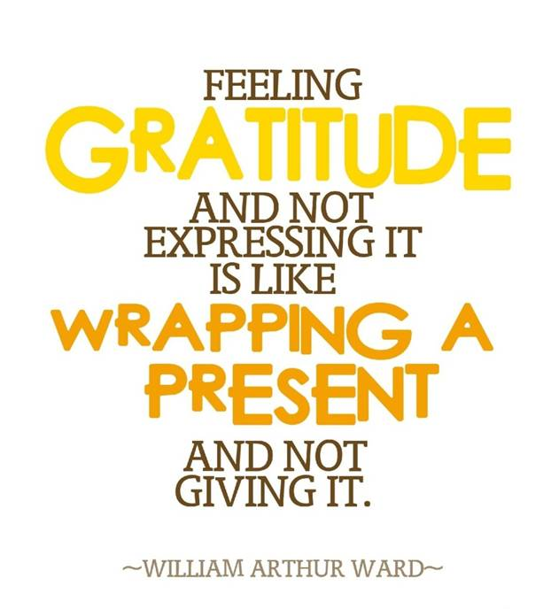 Feeling gratitude and not expressing it is like wrapping a present and not giving it - William Arthur Ward