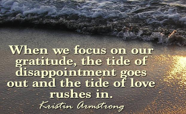 When we focus on our gratitude, the tide of disappointment goes out and the tide of love rushes in - Kristin Armstrong