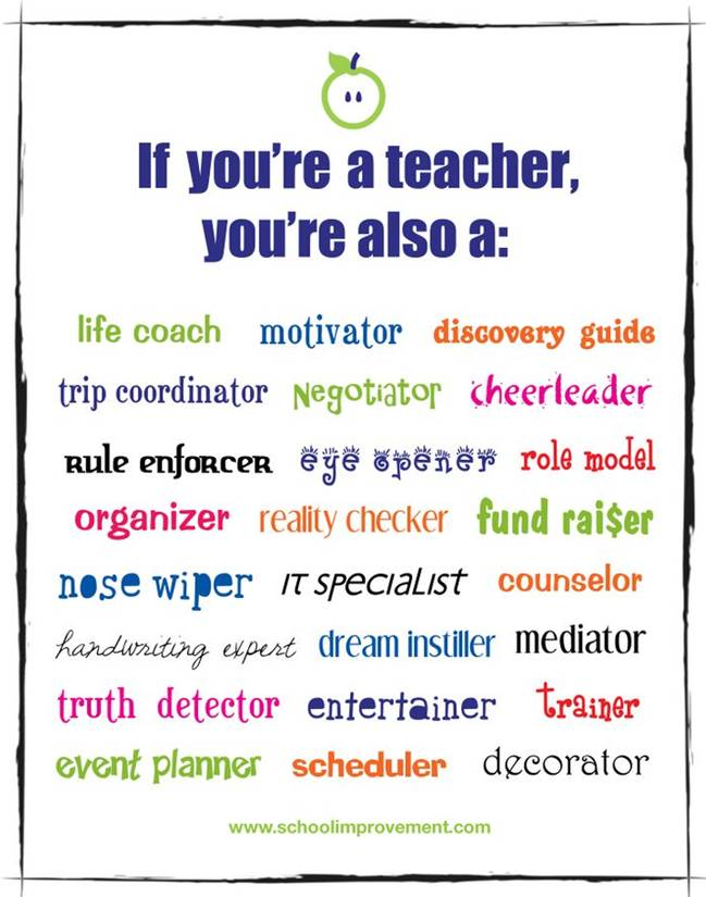 If you are a teacher, you are also a life coach, motivator, discovery guide, trip coordinator, negotiatior, cheerleader, rule enforcer and more