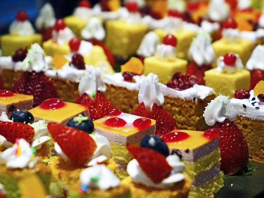 Colorful pieces of cake