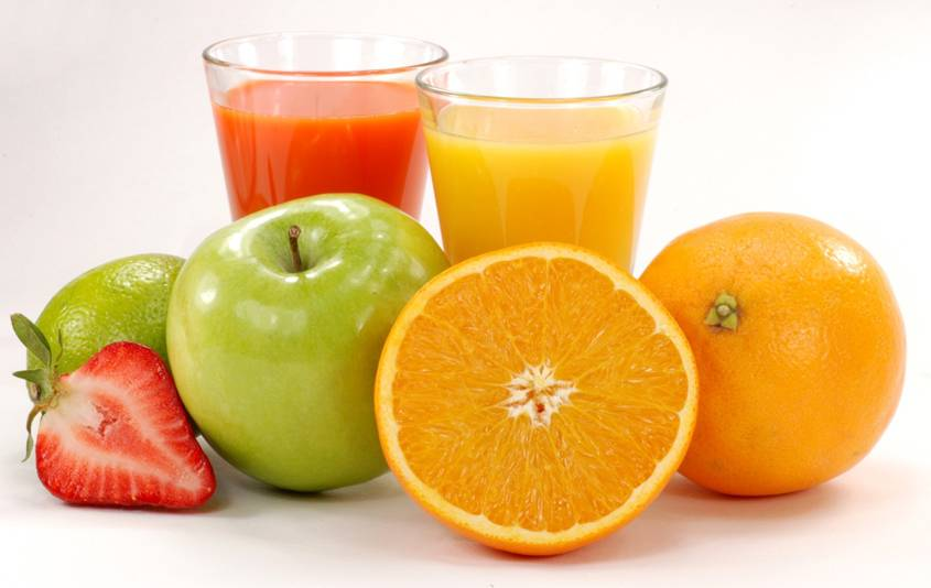 Fruit and glasses of fruit juice