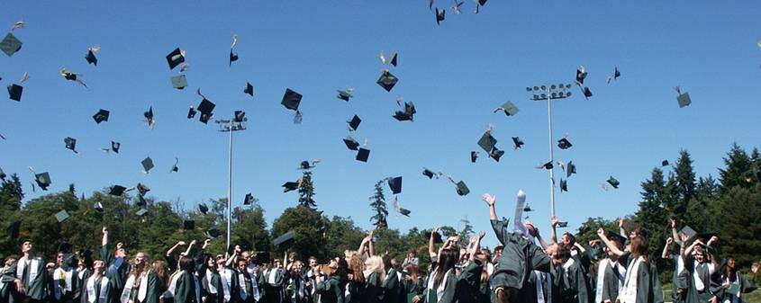 Graduation scene: students throwing their hats in the air