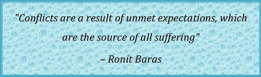 Conflicts are a result of unmet expectations, which are the source of all suffering - Ronit Baras