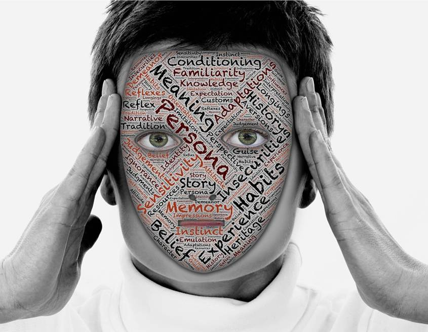 Man covering his face with a mask showing words like meaning, persona, memory, conditioning, etc