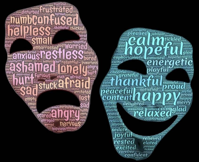 Sad mask with bad feeling words and happy mask with good feeling words
