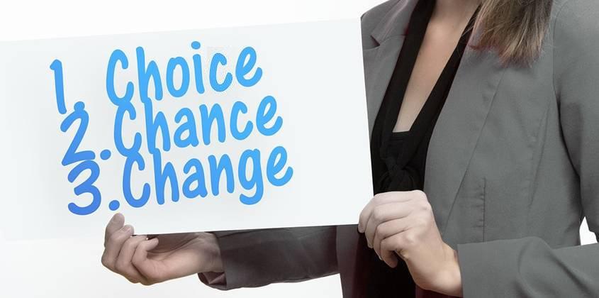 Woman holdings list: Choice, change, change