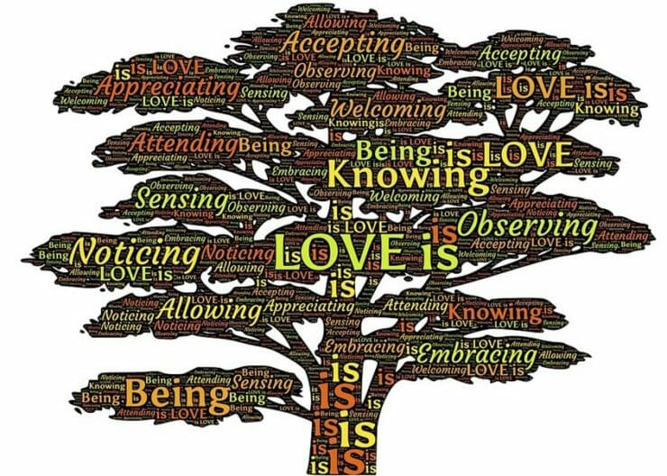 A tree with words about what love is