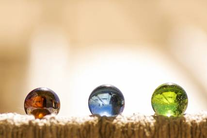 Three glass marbles
