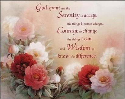 The serenity prayer written over flowers