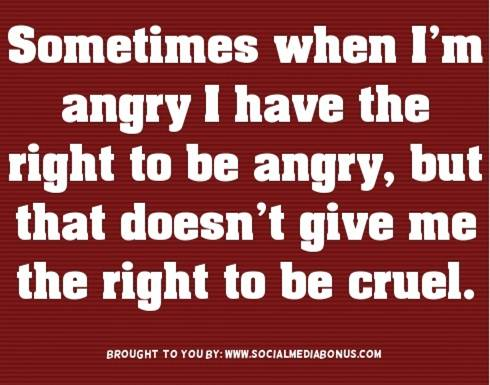 Sometimes when I'm angry, I have the right to be angry, but that doesn't give me the right to be cruel