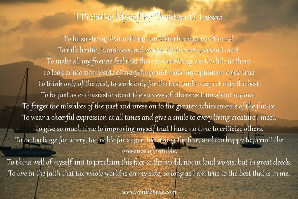 I Promise Myself by Christian D. Larson - the optimism creed