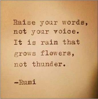 Raise your words, not your voice. It is rain that grows flowers, not thunder - Rumi