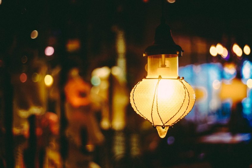 Hanging lamp with blurred background