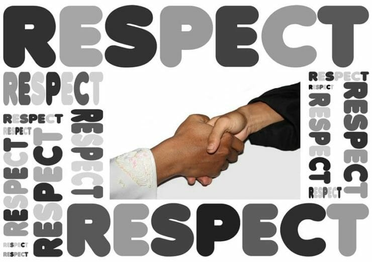 A handshake surrounded by the word respect