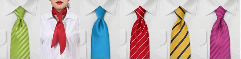 Woman in a tie among men in ties