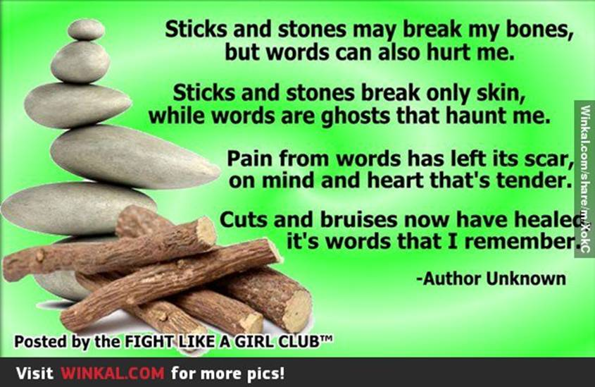 Sayings about sticks and stones