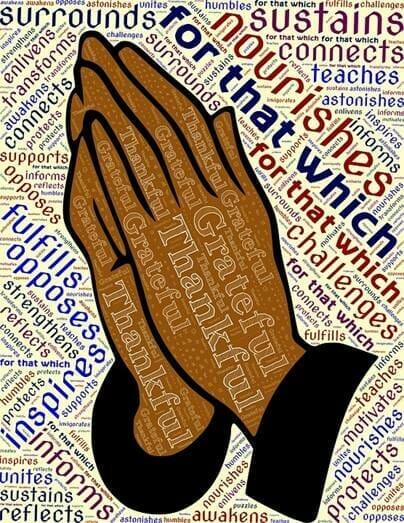 Blessings written over hands held in prayer