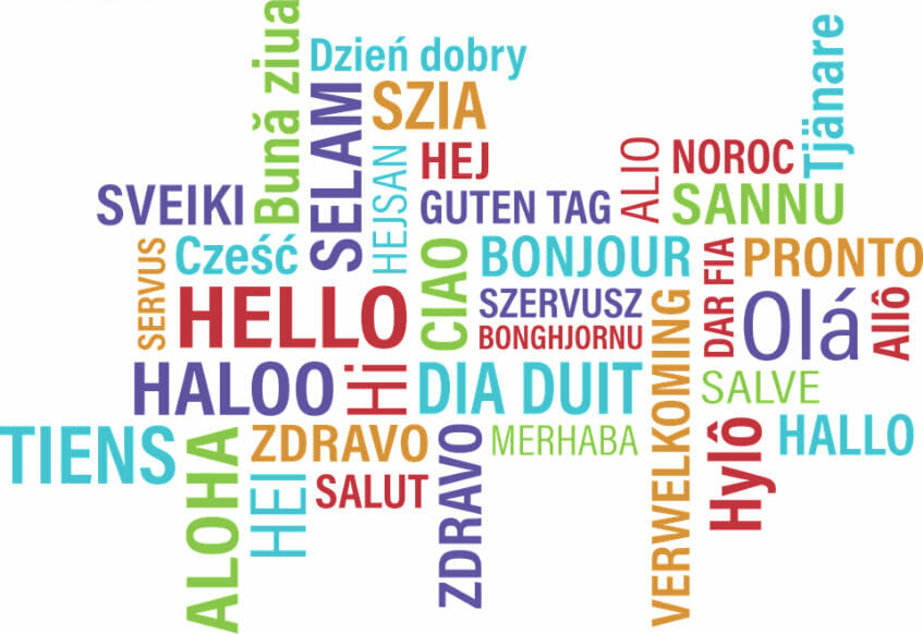 The word Hello in multiple languages